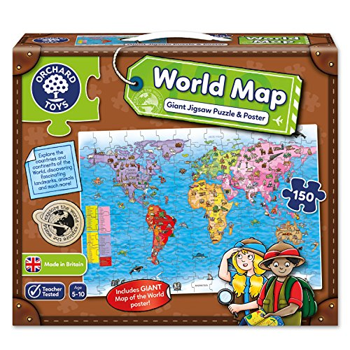 Orchard Toys Weltdiagramm-Puzzlespiel und Plakat World Map Puzzle and Poster