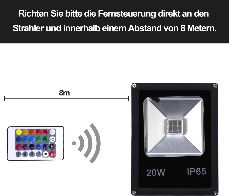 Hengda RGB Strahler LED Fluter 50W 16 Farben 4 Modi superhell LED Flutlichtstrahler IP65 Wasserdicht LED Flutlicht für Außen- und Gartenbeleuchtung 20w Rgb