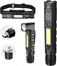 Portable Flashlight, 800 Lumens USB Rechargeable Tactical Flashlight, 90 Degree Rotate, Magnet tail, Flashlight IPX4 Water...