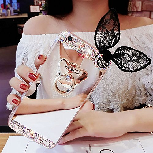Sycode Miroir Coque pour Galaxy Note 8,Miroir Case Cover pour Galaxy Note 8,Silicone Housse pour Galaxy Note 8,Femme Fille Luxus Drôle Mignonne Argent Lapin Oreille Désign Strass Diamant Brillant Ours Béquille Mirror Effect Ultra Mince Semi Rigide Flex Doux Etui de Protection Pailletee Rigid Back Cover Bumper Coque pour Samsung Galaxy Note 8-Lapin Oreille,Argent