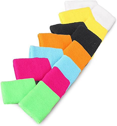 lowest Mallofusa 7 Pair Mix-Color Wrist Sweatband/Wristband for Men & Women - Moisture sale Wicking Athletic Cotton Terry outlet online sale Cloth Sweatband for Tennis, Basketball, Running, Gym, Working Out outlet sale
