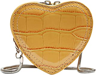 Sylviaian Special Women Fashion Serpentine Leather Heart Shape Chain Bags Mini Shoulder Bag Crossbody Bag