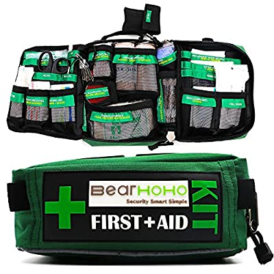 165 Pieces Handy and Comprehensive First Aid Kit Bag – Includes Emergency Blanket, Wound Closures, Bandages and Dressings - Suitable for Home, Office, Camping, Workplace, Car and Travel from BearHoHo