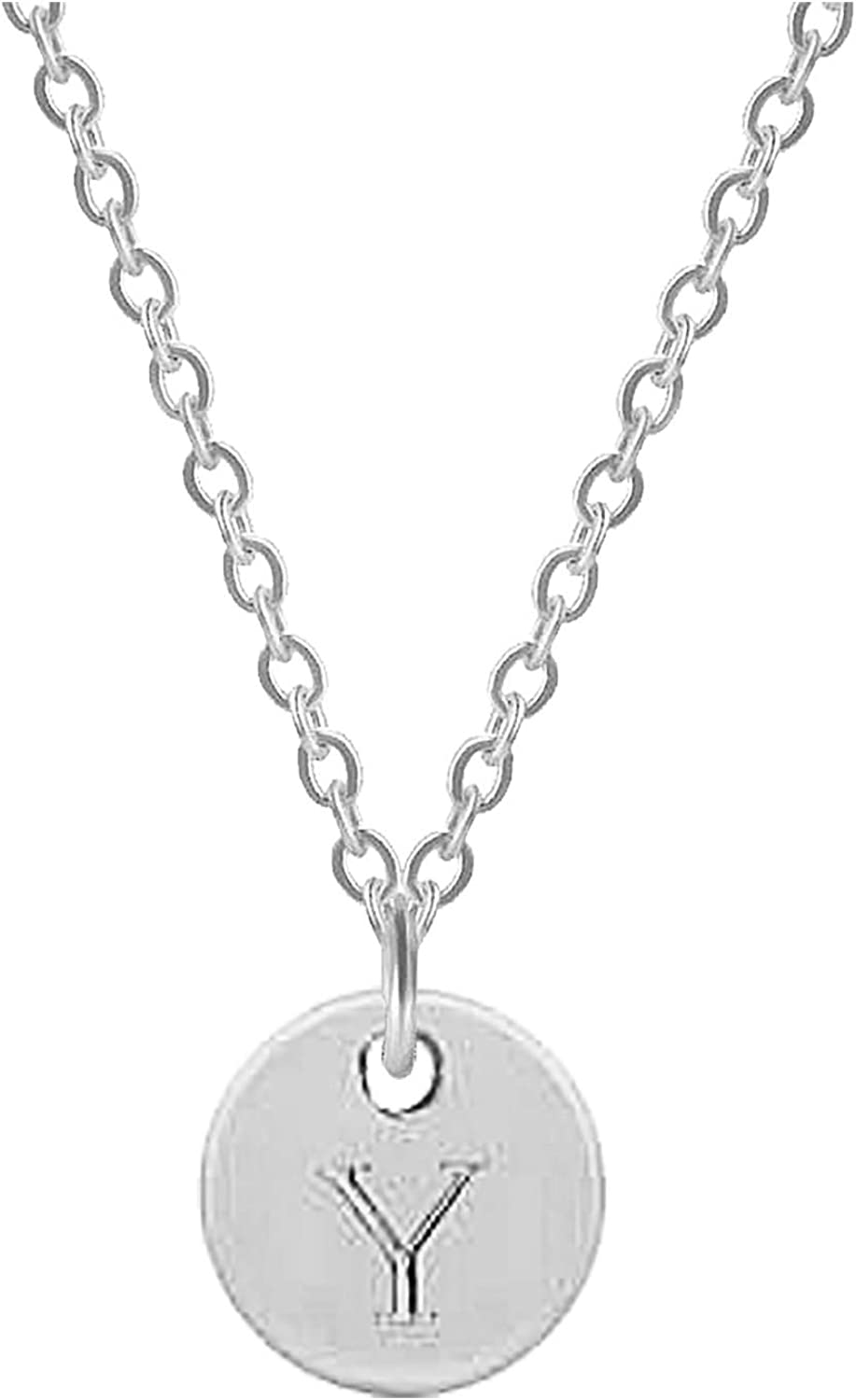 Taswuw Circle Coin Initial Letter Alphabet A to Z Necklace, Stainless Steel Adjustable Capital Name Pendant with Chain, Engraved Jewelry for Women Girls