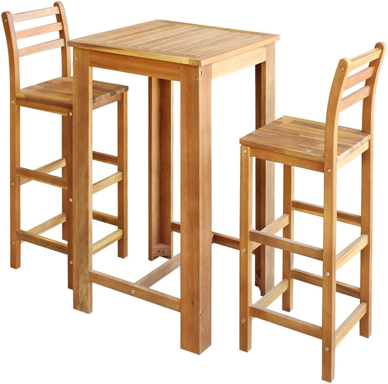 VidaXL Solid Acacia Wood Bar Table and Stool Set 3 pcs 42x36x110cm Furniture