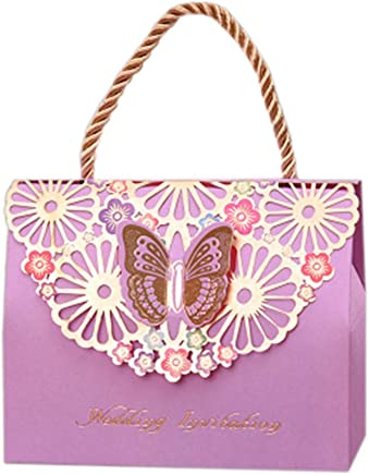 50pcs Party Wedding Candy Chocolate Decorative Candy Boxes, Purple Butterfly