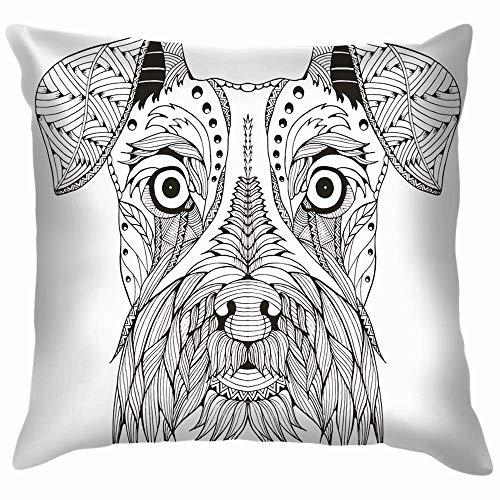N / A Decorate Pillowcase,Luxurious Throw Pillow Cover,Car Pillow Cushion Cover,Sofa Cushion Case,Premium Square Pillow,Schnauzer Dog Head Zentangle Stylized Animals Wildlife