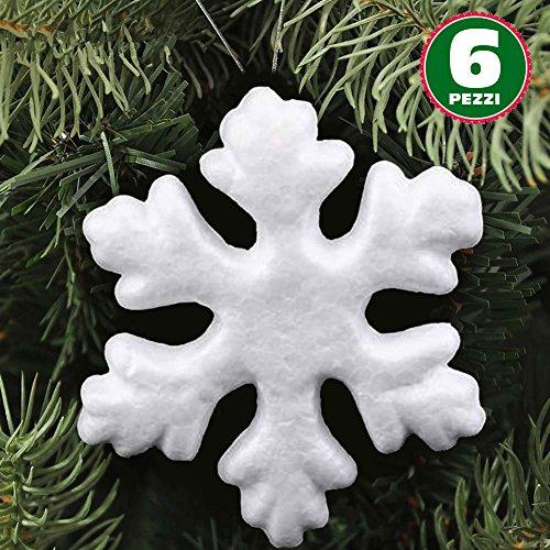 6 Appendini Forma Fiocchi di Neve in Polistirolo 22cm Colore Bianco Addobbi e Decorazioni Natalizie