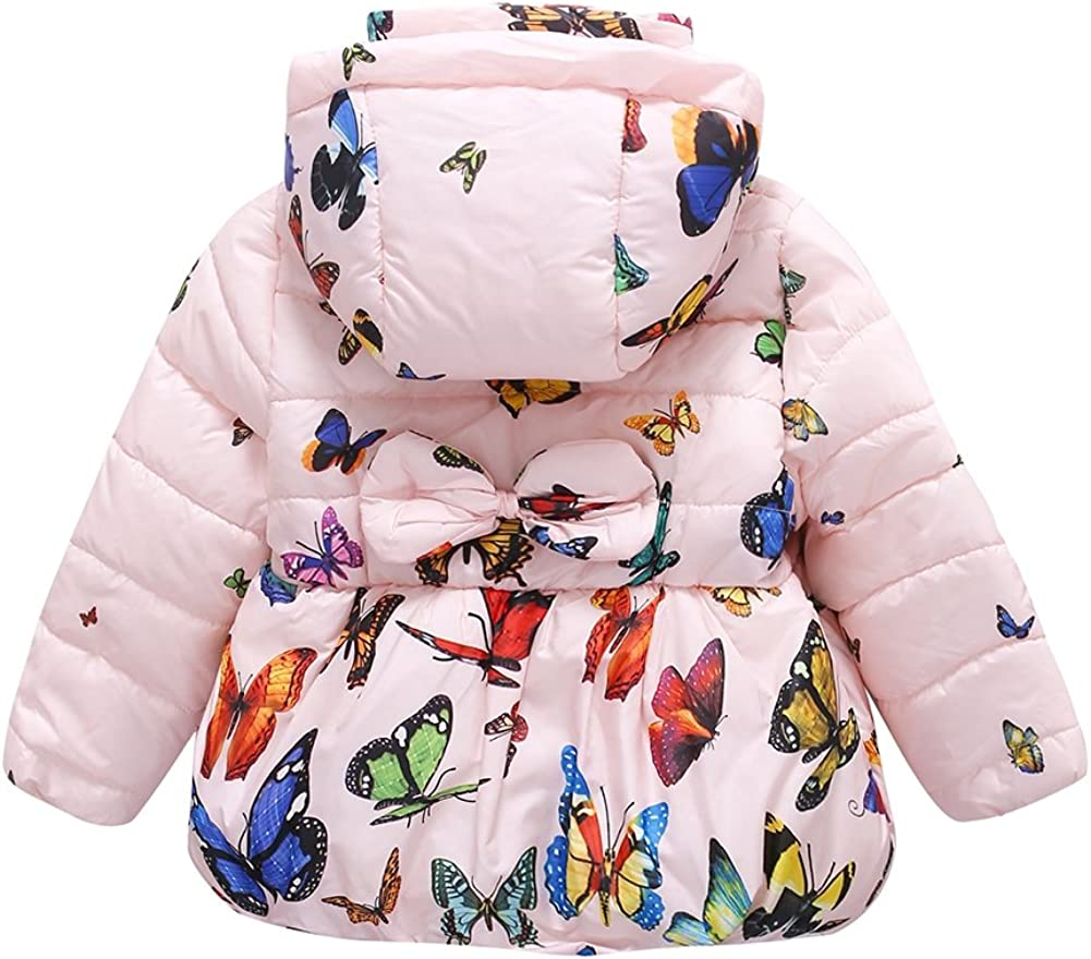 Moresave Baby Girls Winter Warm Soft Cotton Butterfly Long Sleeves Coat Jacket