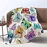 Yunine Lmorey Super Soft Blanket 60 x 80 Inches Seamless Pattern with Butterflies and Watercolor Spots Throw Blanket Bed Couch Sofa Travelling Camping for Kids Adults