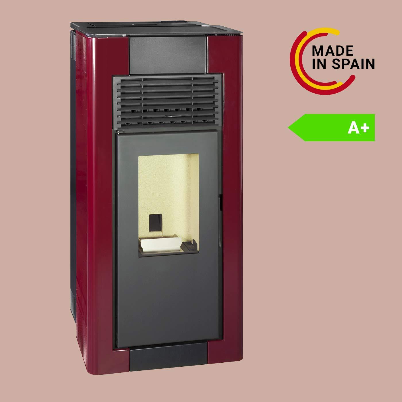 Pyram Estufa Pellets Canalizable | Duradera y Fabricada en España (375 m3-15Kw, Rojo Imperial): Amazon.es: Hogar