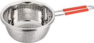 Stainless Steel Perforated Metal Colander Strainer with Long Red Handle Sieve Sifters Use for Kitchen Food Pasta Noodles Spaghetti Vegetables Silver - 7.9inch
