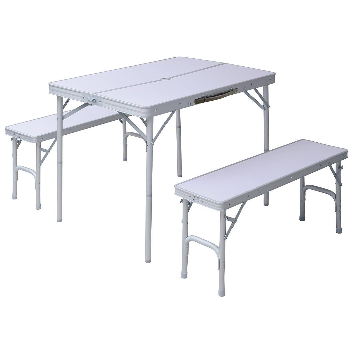 比べるすすり泣き期間山善 キャンパーズコレクション テーブルベンチセット HTBS-4(WH)