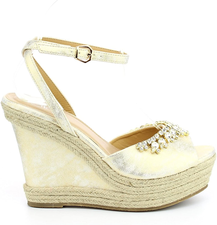 Westcoast Beverly-02 Women's Diamante Weave Summer Platform Wedge Sandals Champagne 6