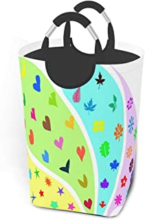 Panier à linge incroyable coloré coeur heureux grand panier à linge sale pliable grand panier de rangement en tissu panier...