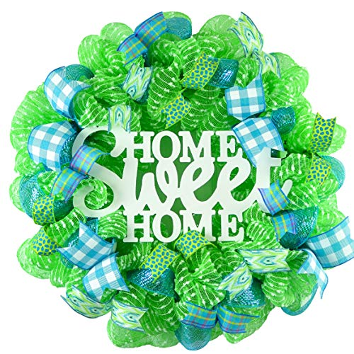 Spring Wreath - Home Sweet Home Everyday Deco Mesh Door Wreath - Lime Green White Turquoise