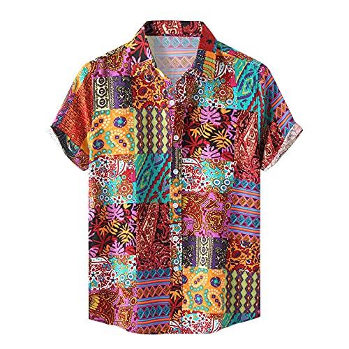 Camisa estampada para hombre, para el tiempo libre, diseño floral, manga corta rojo XL