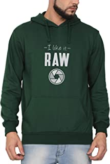 Swag Swami Unisex Cotton I Like It Raw Funny Photography Themed Printed Hoodie | Hooded Sweatshirt