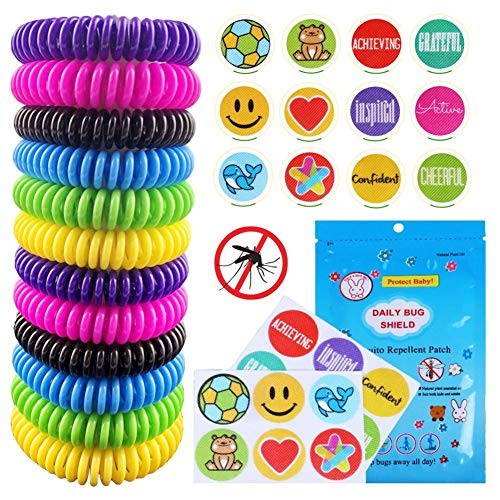Mosquito Repellent Bracelet 12 Pack 100% Natural Mosquito Repellent Band Safe for Kids and Adults Waterproof Insect Repellent Wristband For Indoor and Outdoor Protection UP to 300Hrs (24 Pcs Stickers)