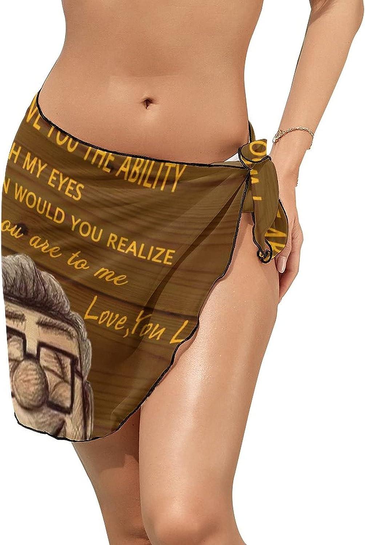 Women Beach Wrap Sarong Cover Up My Love Sunflower Board Sexy Short Sheer Bikini Wraps