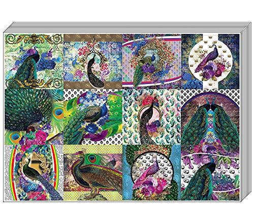 Creanoso Pauw Stickers (10 vel) - Totaal 120 stuks (10 x 12st) Individuele Klein formaat 2,1 x 2 inch, unieke ontwerpen DIY Decoratie Art Sticker voor kinderen