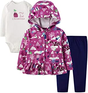 Christmas Baby Girl Winter Clothes, 3-Piece Jacket, Pant, and Long Sleeve Top Set
