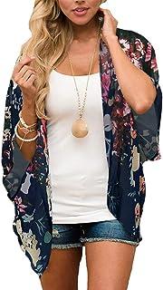 Women's Floral Print Puff Sleeve Kimono Cardigan Loose...