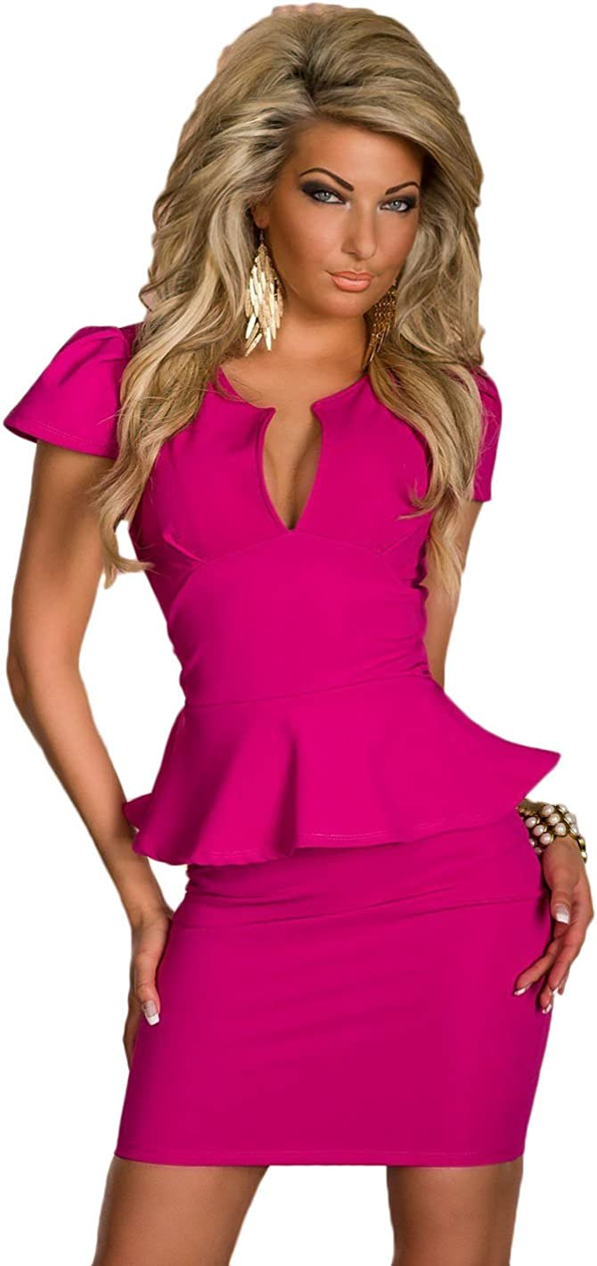 Women Short Sleeve Deep V-Neck Slim Waist Clubwear Bodycon Party Sexy Mini Dress Purple L