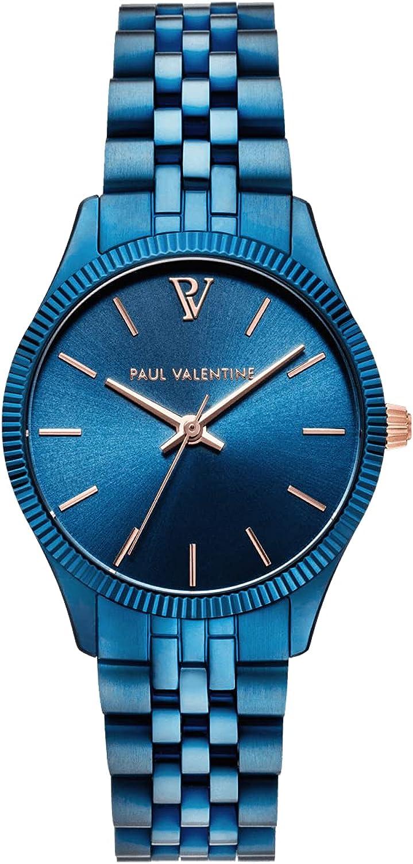 Paul Valentine Iconia Blue - Reloj de pulsera para mujer con esfera metálica azul, cristal resistente a los arañazos, correa de acero inoxidable de filigrana
