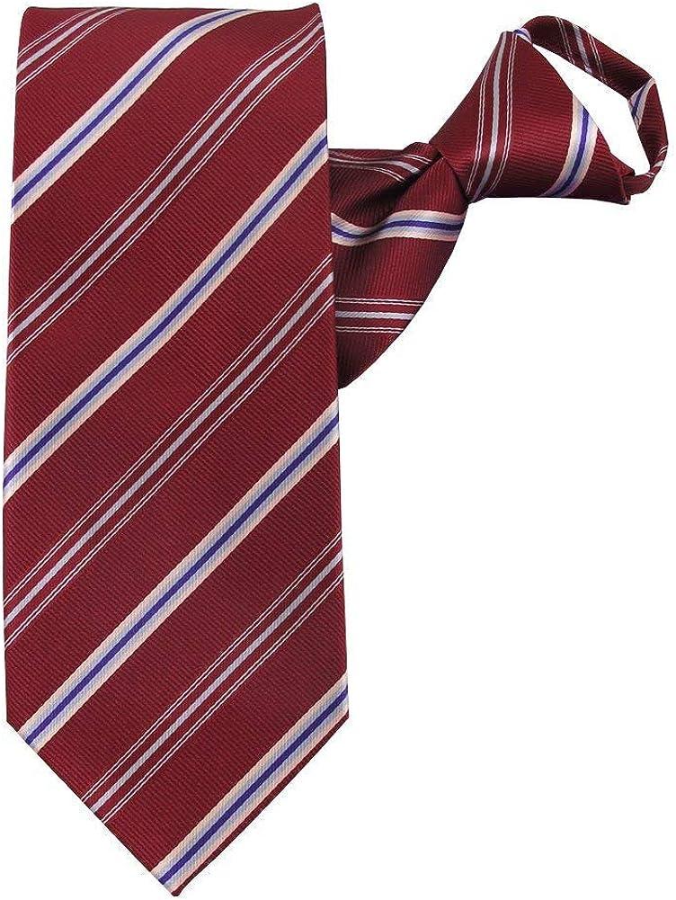 Jacob Alexander Men's Pre-Tied Executive Stripe Pattern Zipper Neck Tie