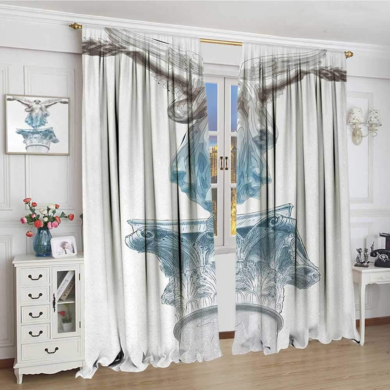 Smallbeefly Toga Party Window Curtain Fabric Antique Muse Statue Athens Hellenistic Period Mythological Monument Art Lengthened Drapes Living Room 84 x108  Pale bluee Umber