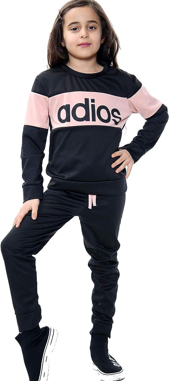 Girls Kids Sports Tracksuit Black Outfit 2 Piece Sweatshirt And Bottom Set Adios