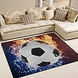 Naanle palla da calcio tappeto antiscivolo per per camera da letto, soggiorno, cucina 50...