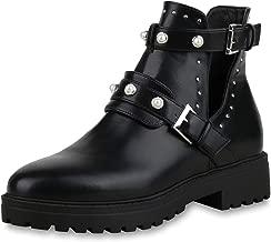 SCARPE VITA Damen Stiefeletten Ankle Boots mit Blockabsatz Zierperlen Nieten