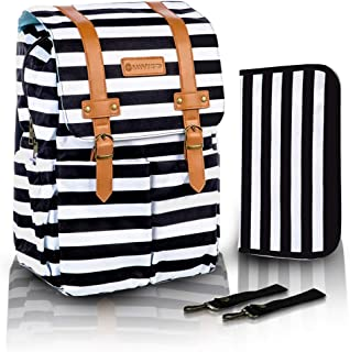 SavvyMami Striped Bag Backpack for Mom - Large Black and White Striped Baby Diaper Bag Backpack For Mom - Travel Diaper Bag with Changing Pad and Wipes Case and Stroller Straps for Women Baby Bag