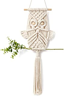 Mkono Owl Macrame Wall Hanging Art Decor Handmade Woven Tapestry Boho Ornament Wall Hanger - Office Living Room Bedroom Nursery Craft Decorations
