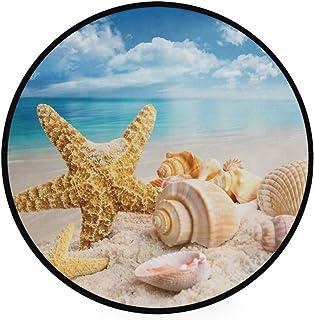 Pfrewn Starfish Seashells Beach Doormat Blue Sky Round Floor Mat Washable Non-Slip Indoor Outdoor Area Rug for Bedroom Liv...
