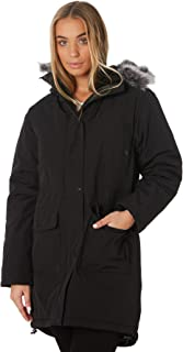 Rusty Women's All In Fur Trim Parka Cotton Polyester Black
