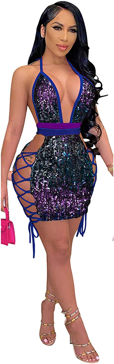 Women's Sexy Sequin Bodycon Dress Deep V Neck Lace Up Halter Bandage Mini Club Party Dress
