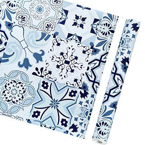 Classic Porcelain Pattern Contact Paper Self Adhesive Shelf Liner Kitchen armadi Ripiani Porta Sticker Peel And Stick Wallpaper per pareti Camera Cucina Crafts 45 x 199,9 cm