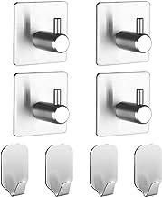 Adhesive Hooks, Stainless Steel Hook Set for Hanging Towels, Robe, Keys, Coat, Bathroom/Kitchen Organizer, Heavy Duty, 4 B...