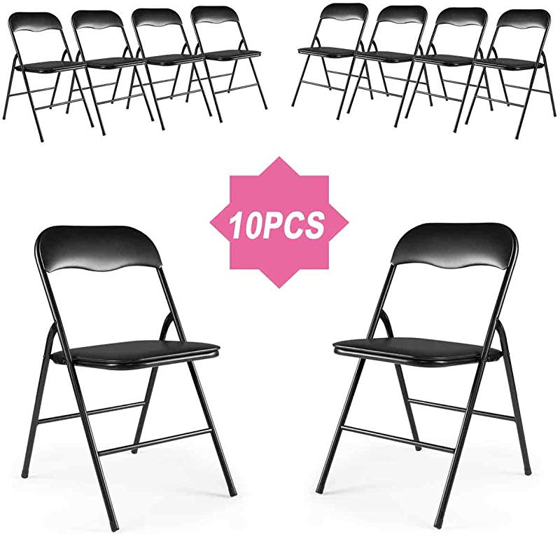 LAZYMOON 10 Pack Plastic Folding Chairs Wedding Banquet Seat Premium Party Event Chair Black