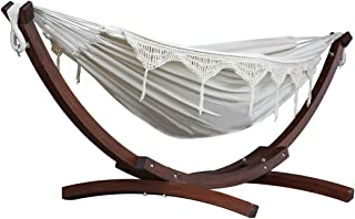 Wooden Arc Double Hammock Stand Combo