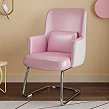 JLL Mid Century Modern Style Chair - Metal Base Faux Leather Bucket Seat (Color : Pink)
