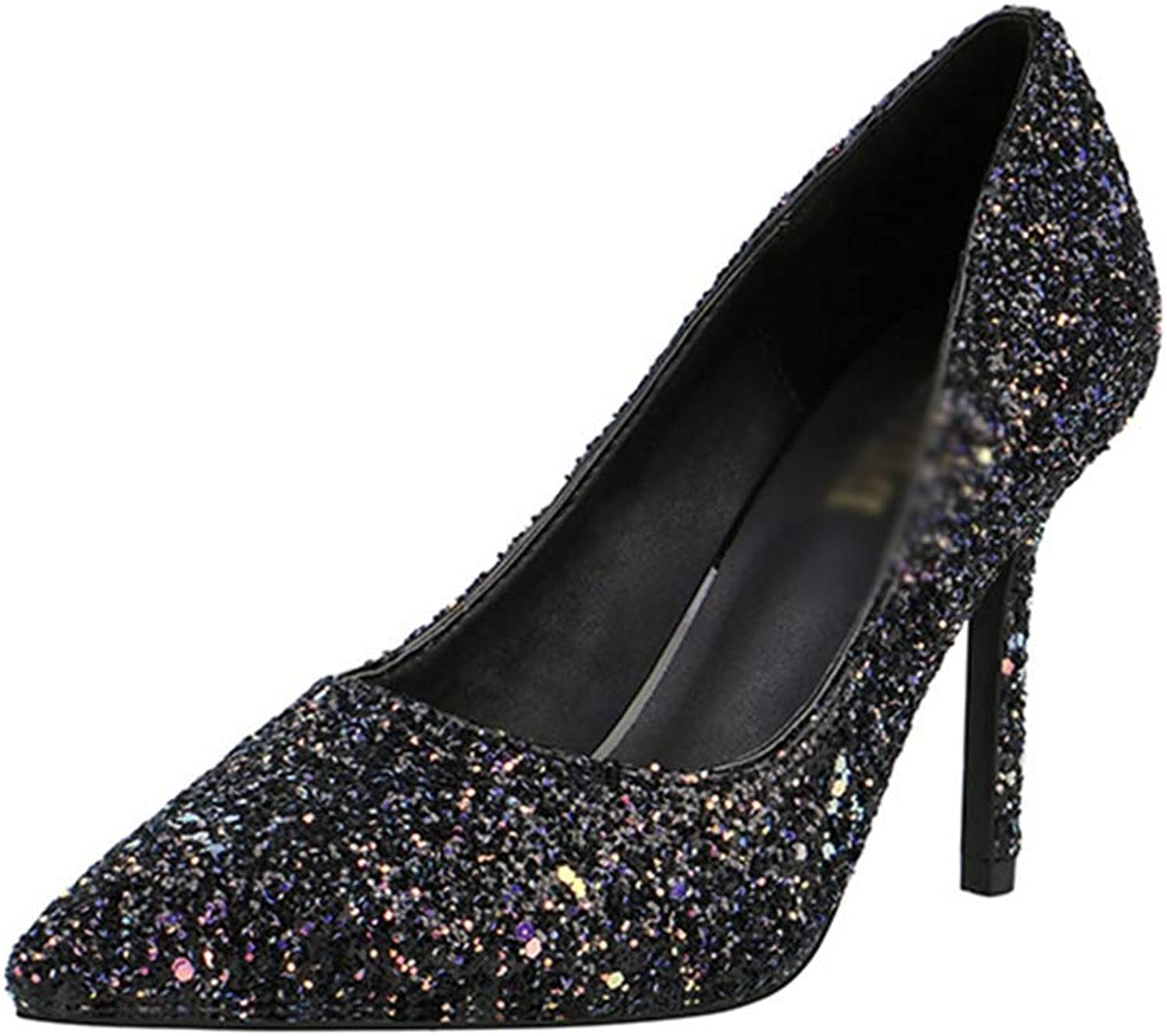 Drew Toby Women Pumps Pointed Toe Sexy Shallow Mouth Sequin High Heels