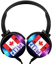 Wired Headset Canada Flag Wired Bluetooth Headphones Unisex Over-Head Hi-Fi Stereo Customized Foldable Headsets