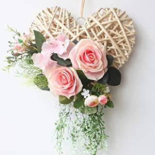 NIEHFIT Simulation Flower Set Heart-Shaped Rattan Woven Cloth Wreath Wedding Wall Home Decoration Look (Color : C)