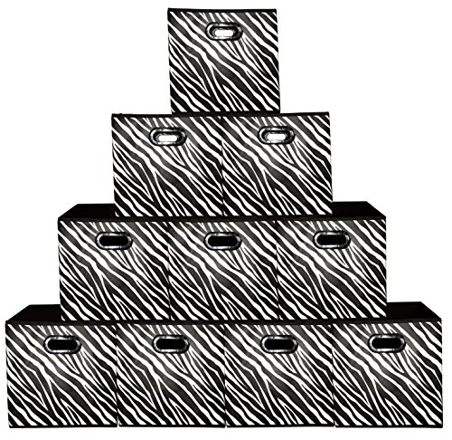 [10 Pack-Zebra Pattern] Large Storage Bins, Containers, Boxes, Tote, Baskets  Collapsible Storage Cubes For Household Offices Organization  Nursery Cubes  Dual Plastic Handle Storages Drawer