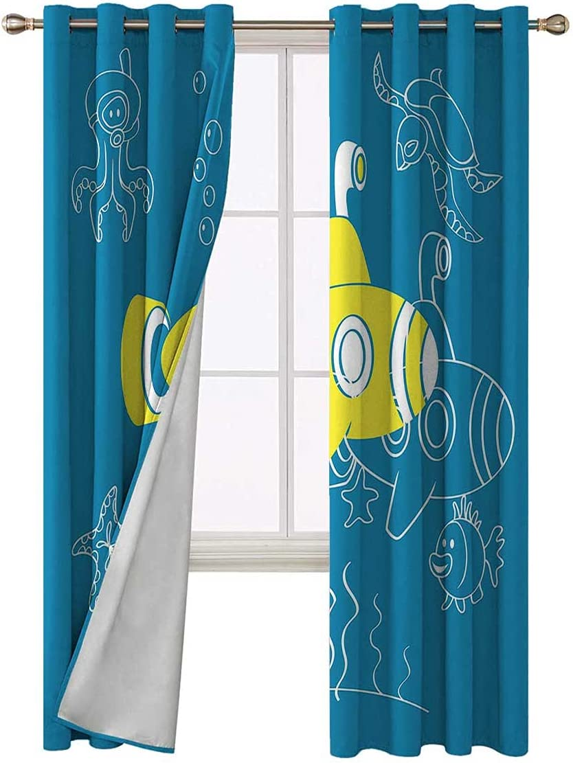Modern Curtains Max 59% OFF 96 Inch Length Cartoon Kids National uniform free shipping Underwater Blackout