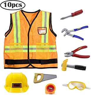 Kids Construction Worker Costume for Halloween Role Play Worker Play Pretend Costume with Accessories 10pcs Yellow